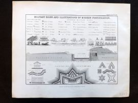 Alison & Johnston 1852 Military Signs and Illustrations of Modern Fortification